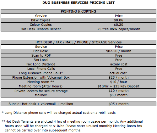 Business Services Price List 2013:14